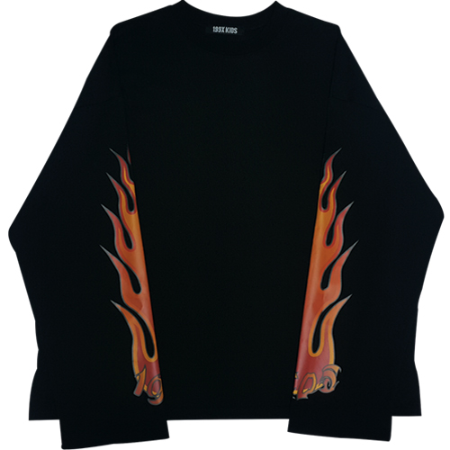 FLAME LOGO ROUND T-SHIRTS (BLACK)