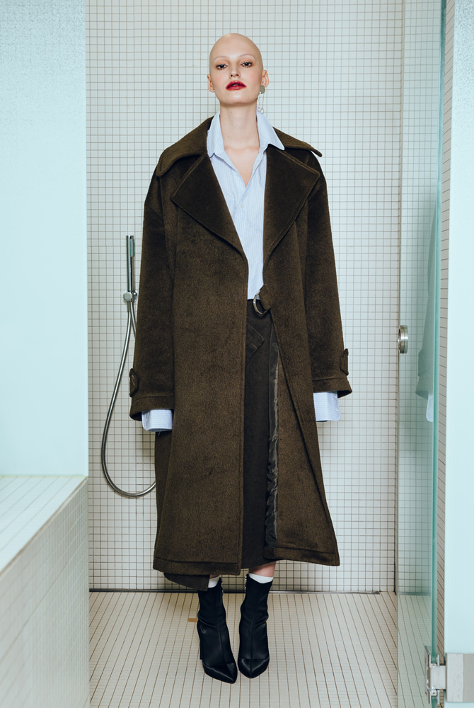 ALPACA WOOL TRENCH COAT (BROWN)